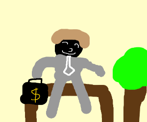 business man with small bench