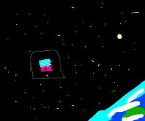 A small boy with a square haircut in space