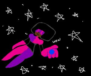 Garnet(SU) floating in space