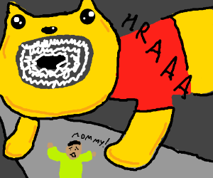 Boy runs from mutant Pooh bear