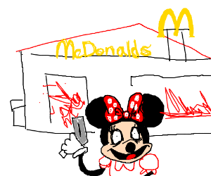 Minnie Mouse brings a gun to Mcdonalds.