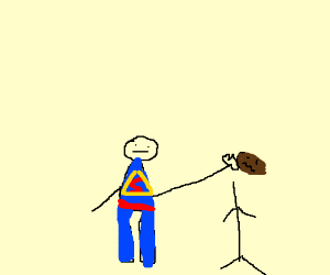 Evil Superman punches head off black man.