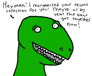 "Mark the Dinosaur does something ""nice"""