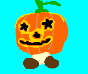 Jack-o-lantern with goomba feet