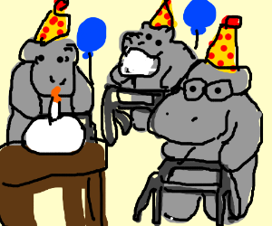 Party for elderly hippos