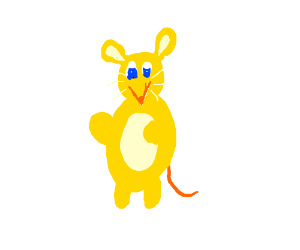 Yellow mouse w/ blue eyes waves to viewer