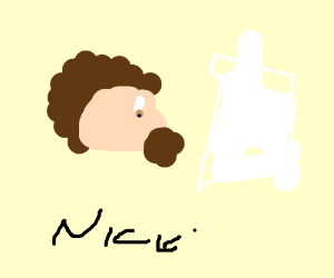 Bob Ross drawing a rocket ship