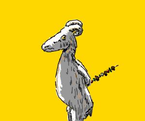 Goat holding kebab