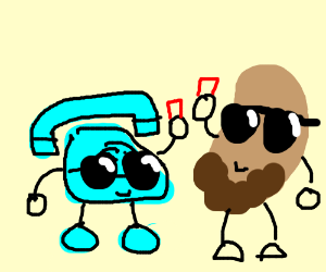 Mr. Telephone chilling with Mr. Bearded Beanie