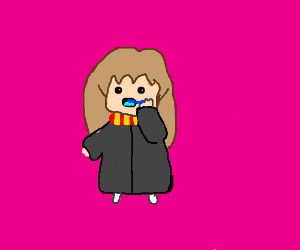 Hermione brushes her teeth.