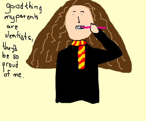 Hermione brushes her teeth