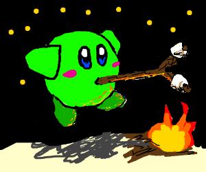 Green kirby cooks marshmallows