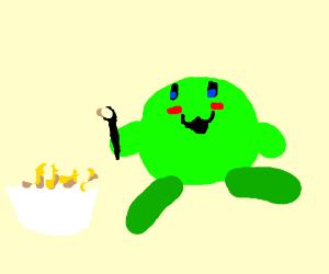 Green blushing kirby eating cornflakes
