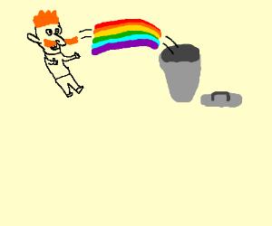 a man throws a rainbow away