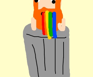 Leperchan puking out rainbows into trash