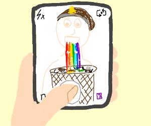 Hobo barfs rainbows into trash can