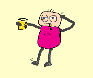 Man is suspicious of yello drink he is drinkin