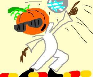 Halloween guy with pumpkin head disco dancing