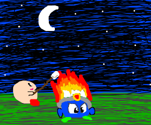 Kirby Likes To Roast Marshmellows Over a Fire!