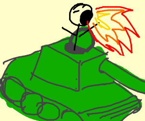 Man breathes fire atop a tank.