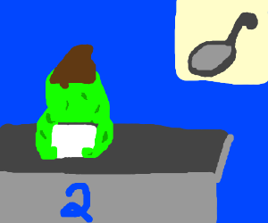 Amorphous green news anchor gives the scoop