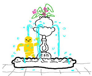 Lego man bathes in a fountain