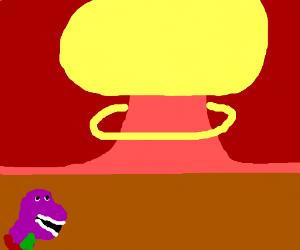 Nuclear bomb destroys Barney the dinosaur