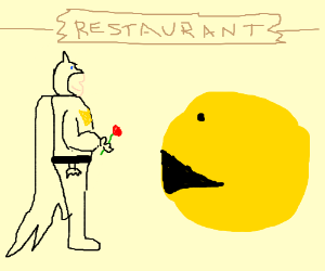 batman and pacman go on a date
