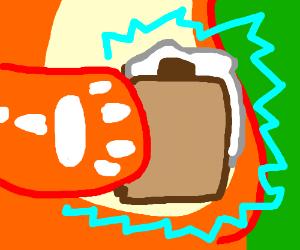 Charzard heating marshmallow w/ elect. shock