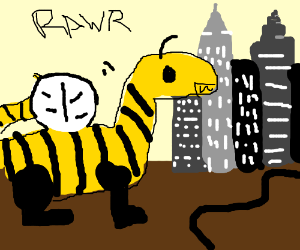 Dinosaur/bumblebee hybrid walk into town