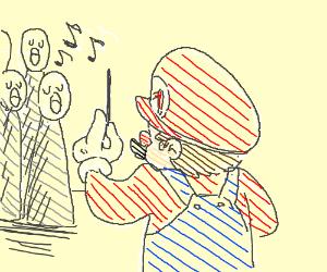 mario directs choir