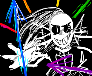 Undyne  fires multicolored spears