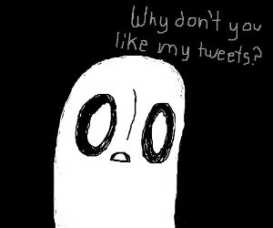 Napstablook,sad because noone likes his tweets
