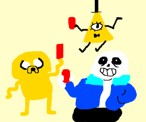 sans,bill cipher and jake drinking beer