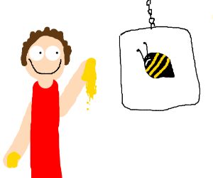 Man taunts bee with honey