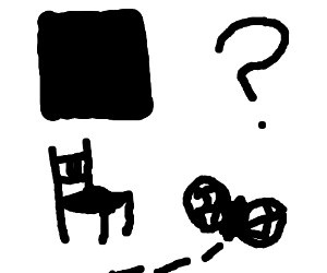 A chair, a square, fly and a question mark