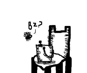 Tiny man, in a bucket, on a chair, with a fly