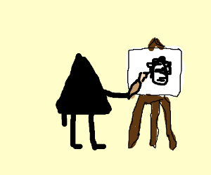 Triangle paints a guy w/ a jew fro