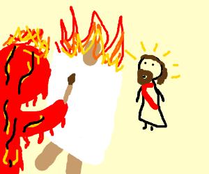 Lava paints Jesus