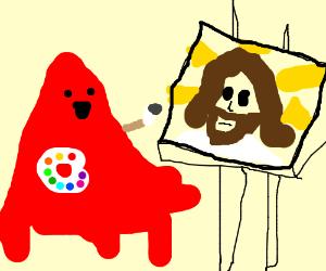 Lava monster paints portrait of Jesus