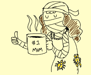 Mum's steaming hot coffee