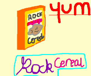 Advertisement for rock cereal. Lots of FLAVOR!