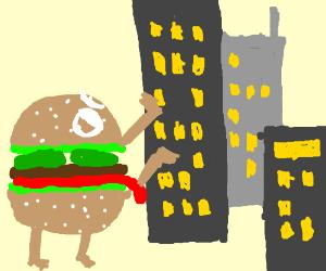 A burger terrorizing a city