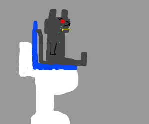 Iron Cat uses toilet, cries.