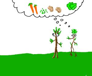 Stickmen think about vegetables