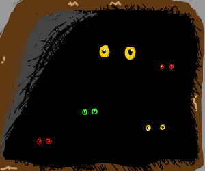 A dark cave filled with multi-colour eyes (drawing by ...