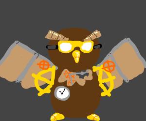 a detailed steampunk owl