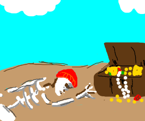 Skeleton in red cap never reached the treasure