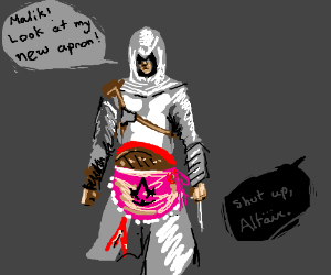 Altair wearing his new apron. Nobody cares.