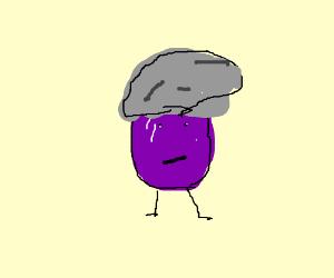 An anthropomorphic grape wears a beanie